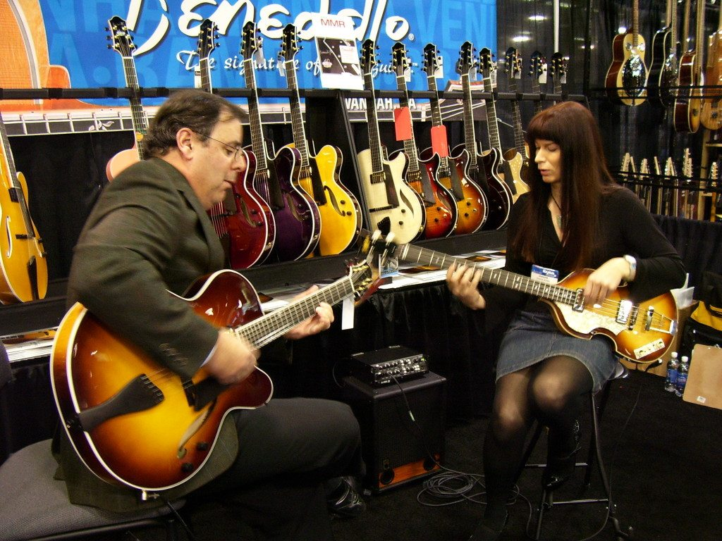 Howard Paul & Jennifer Leitham performing at 2007 NAMM Benedetto booth.   Mike Oria Photography