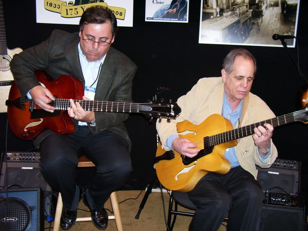 Howard Paul & guitar legend Joe Beck share the stage at NAMM. Mike Oria Photography