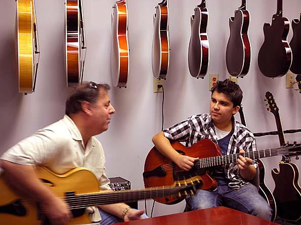 Howard Paul & Andreas Oberg at Benedetto Guitars during his visit for the Savannah Jazz Festival.