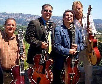 At Napa Valley Jazz Society performance at Mold Winery.  Dave Miner, Howard Paul, Howard Alden & Andreas Oberg,  Photo by John Brackett