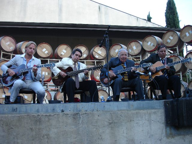 Andreas Oberg, Howard Alden, Bucky Pizzarelli and Howard Paul at Miner Winery.
