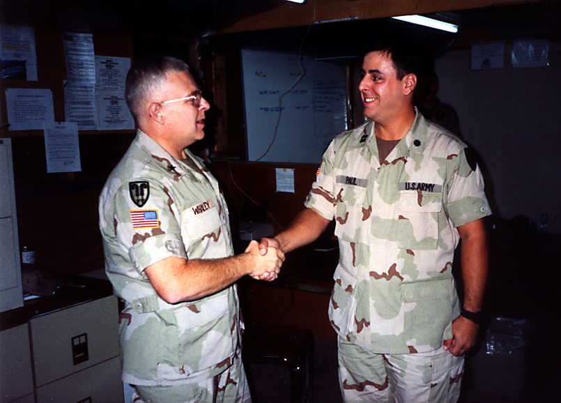 Promotion to Captain during Desert Storm w/BG Gary Whaley. 1991 in US Army Central Command HQ, Dammam. Saudi Arabia.