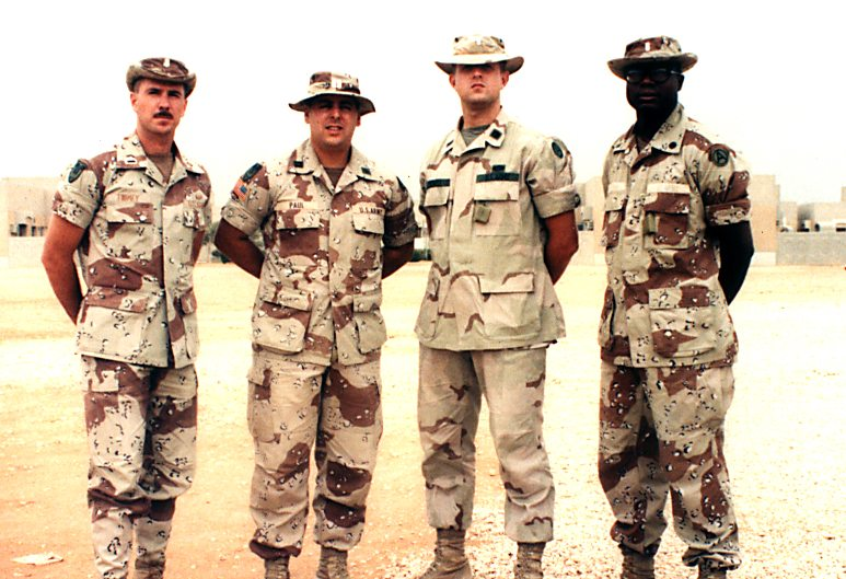 Captain Howard Paul, Kuwait 1991 w/his three lieutenants