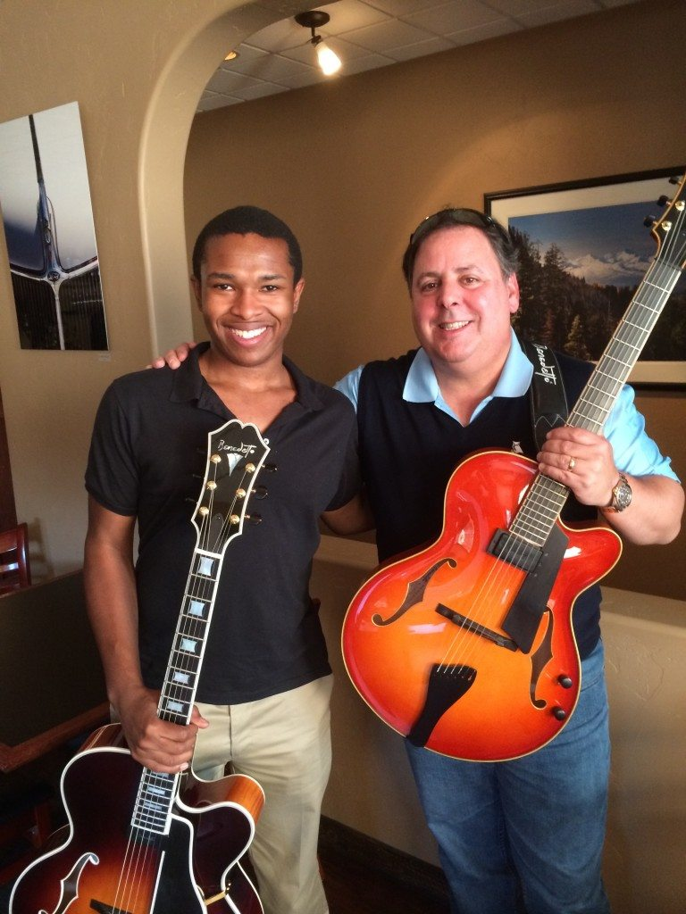 "Young guitar great ""King"" Soloman Hicks & Howard Paul in Kalispell MT performing for a Miner Wine Dinner."