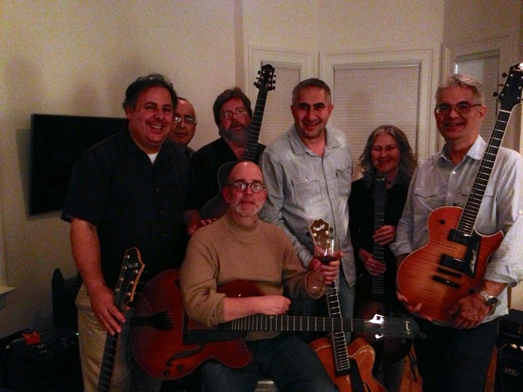 Berklee house party hosted by 2010 Garrison Fewell  in Boston:  Howard Paul, Jack Pizzarelli, Mark White, Larry Baione, Luca di Luzio, Jane Miller, and Garrison Fewell.