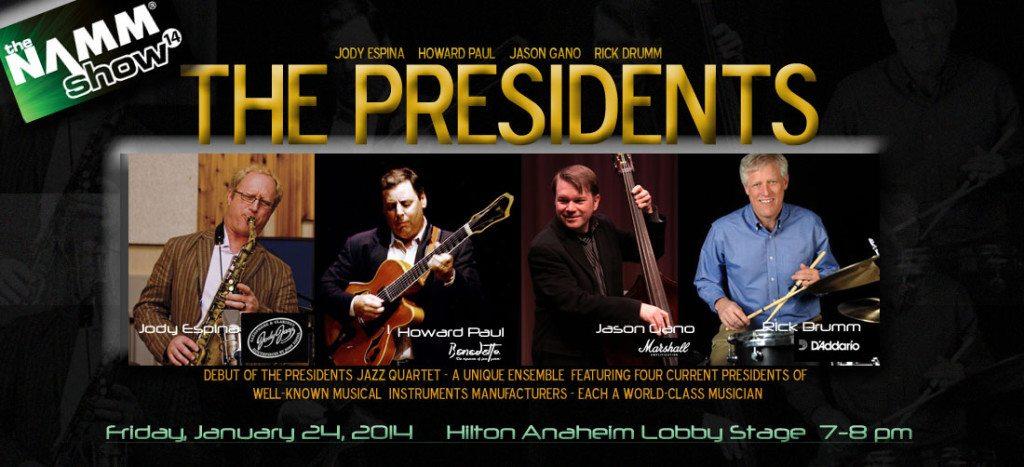 """NAMM 2014 """"The Presidents"""" with Jody Espina (JodyJazz), Howard Paul (Benedetto), Jason Gano (Marshall Amps) and Rick Drumm (D'Addario)."""
