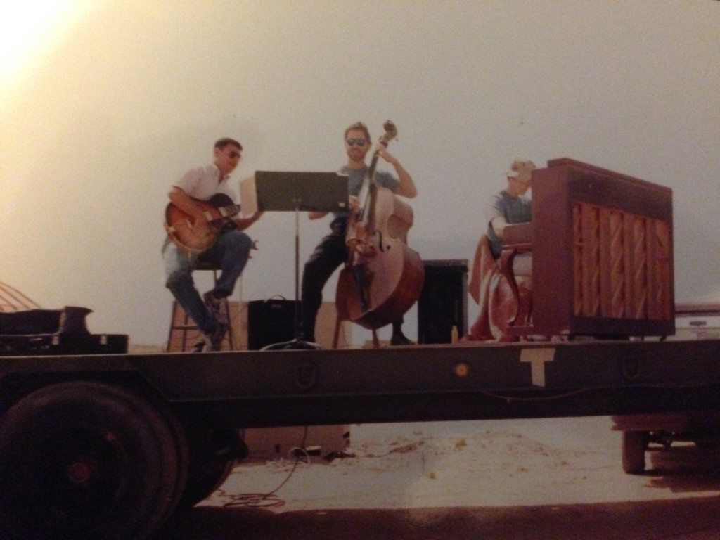 Desert Storm:  A USAF Group Commander coordinated this trio performance on a flatbed in the middle of a desert airfield.  The bassist was a dentist for US Training Mission and pianist a teacher at the US Embassy School.