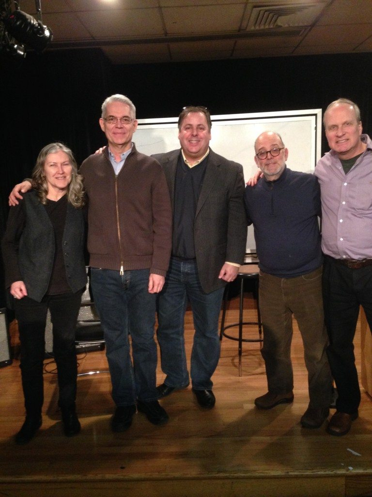 Berklee College of Music Benedetto Artists Jane Miller, Garrison Fewell, Howard Paul, Larry Baione (Guitar Chair) and Jon Wheatley following a Benedetto workshop.  2012