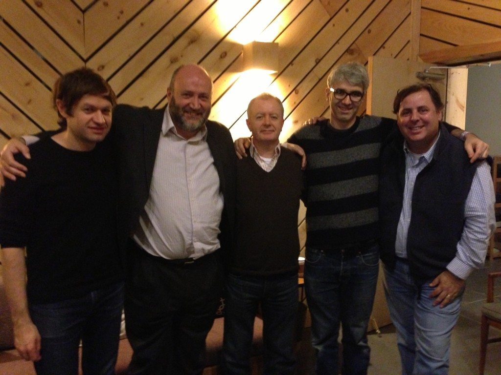 Williamsburg, Brooklyn's Bunker Studios following a record session with David O'Rourke (second from left) for an record being produced in Ireland.