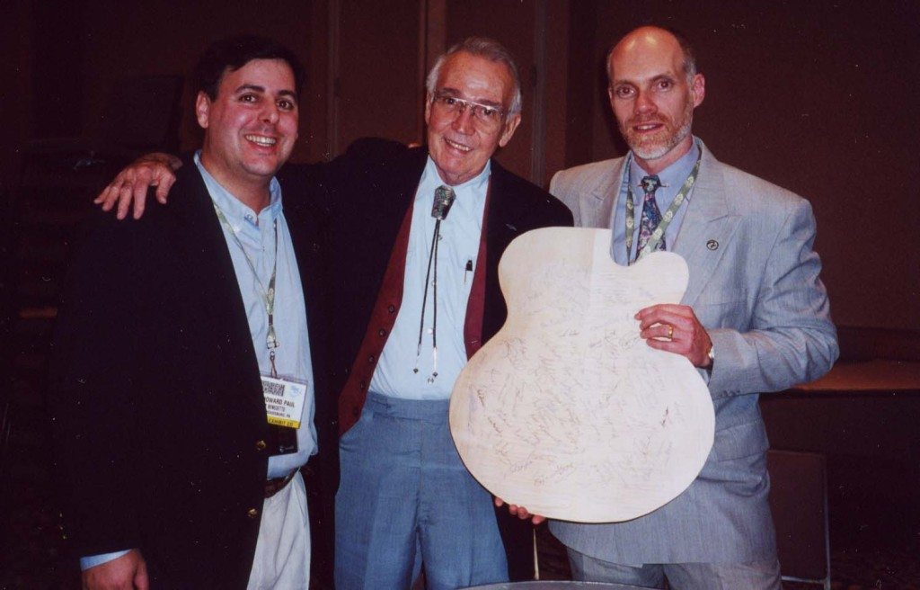 Howard Paul, guitar legend Johnny Smith and Bill Doyle in LA during a NAMM Benedetto Players performance.