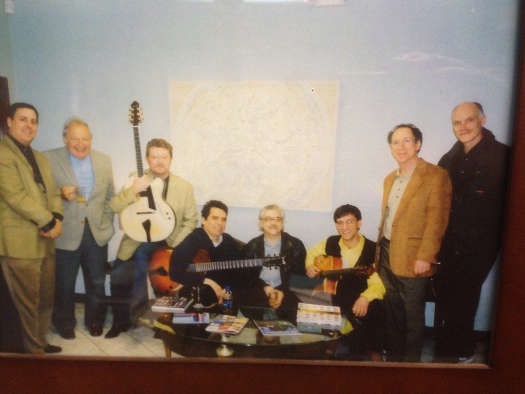 2000 Savannah Music Festival Benedetto Players at SCAD:  Howard Paul, Bucky Pizzarelli, Martin Taylor, Howard Alden, Jimmy Bruno, Frank Vignola, Bob Benedetto & Bill Doyle.