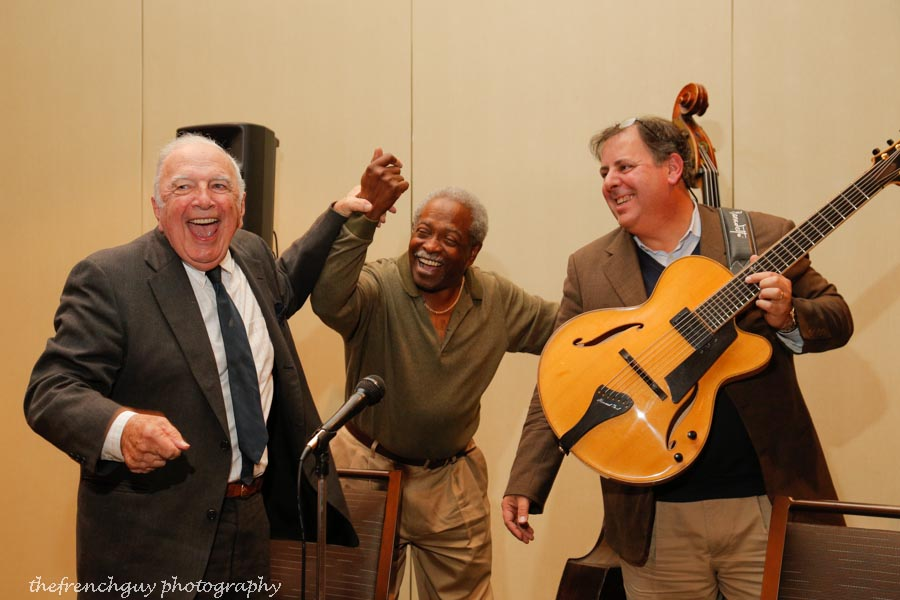 Bucky Pizzarelli, Ben Tucker & Howard Paul taking bows at a Coastal Jazz Association concert.  Photo by thefrenchguy photography.