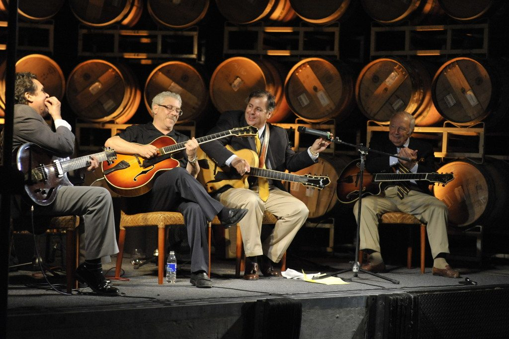 Howard Alden, special guest Jimmy Bruno, Bucky Pizzarelli and Howard Paul at Miner Winery.  Photo by John Brackett