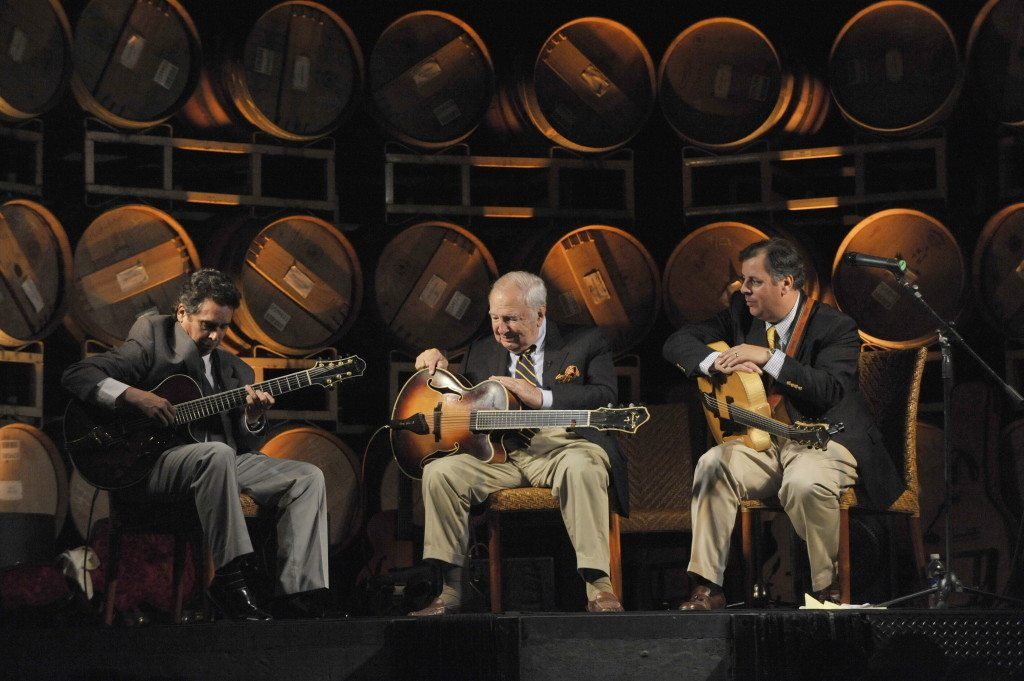 Howard Alden, Bucky Pizzarelli and Howard Paul at Miner Winery.  Photo by John Brackett