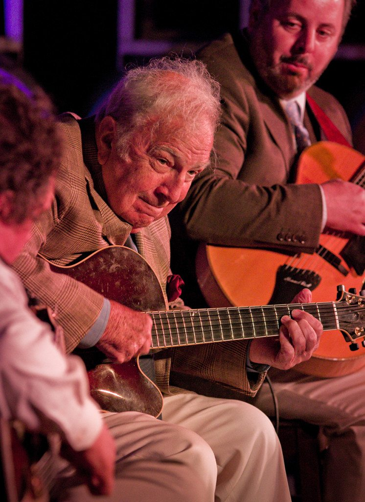 Howard Alden, Bucky Pizzarelli and Howard Paul at Miner Winery.  Mike Oria Photography