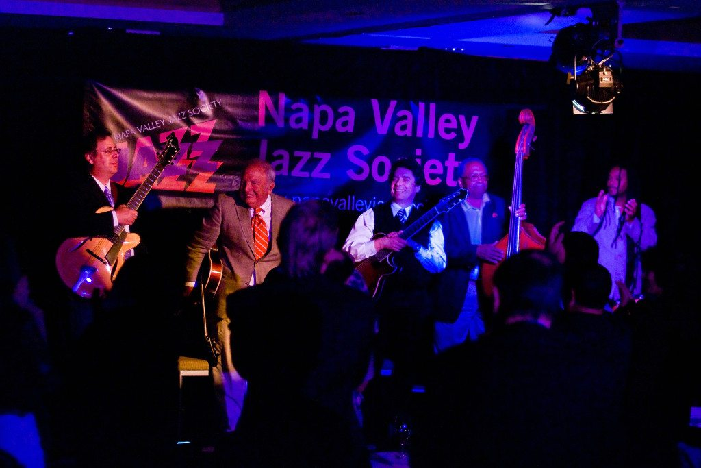 Standing ovation at the Napa Valley Jazz Society with Howard Paul, Bucky Pizzarelli, Howard Alden, Ben Tucker, and Quentin Baxter. Mike Oria Photography
