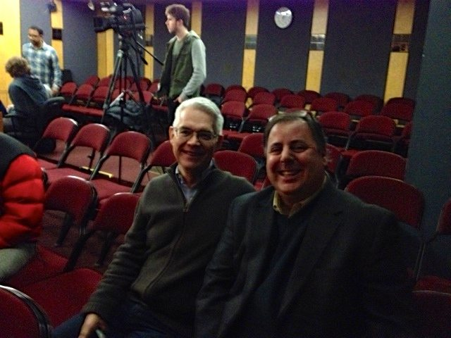 Berklee Professor Garrison Fewell and Howard Paul during a break from Benedetto Workshop at Berklee College of Music 2012